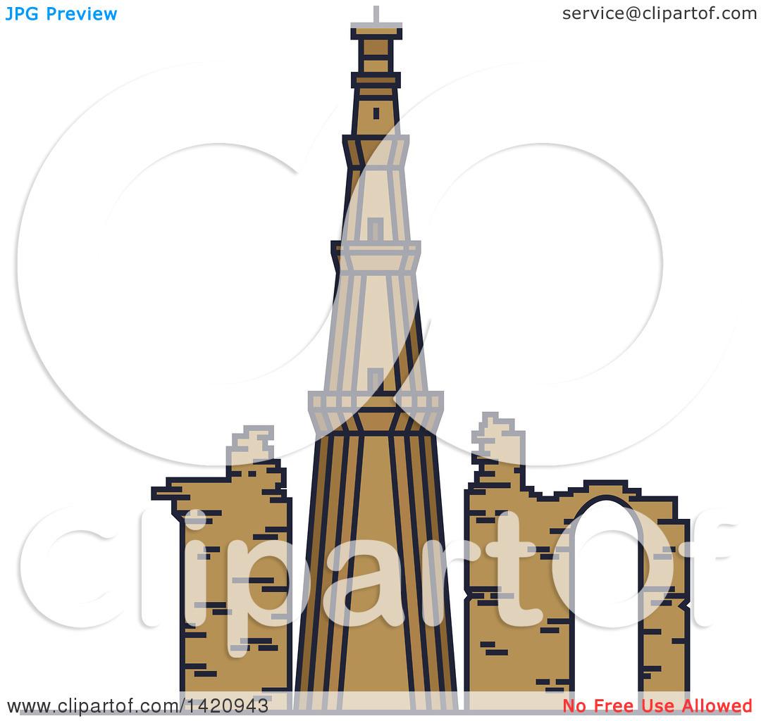 Clipart of a India Landmark, Minaret Qutub Minar.