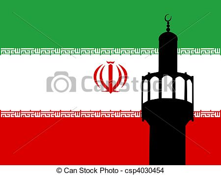 Drawing of Iranian mosque minaret with flag.