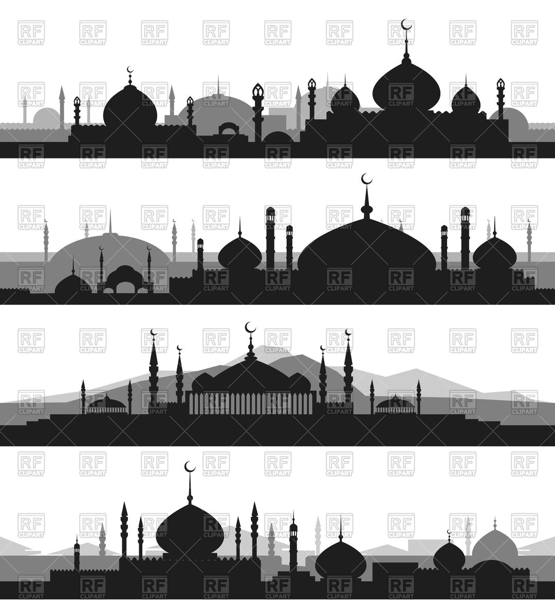 Set of islamic cityscape with mosque and minaret silhouettes.