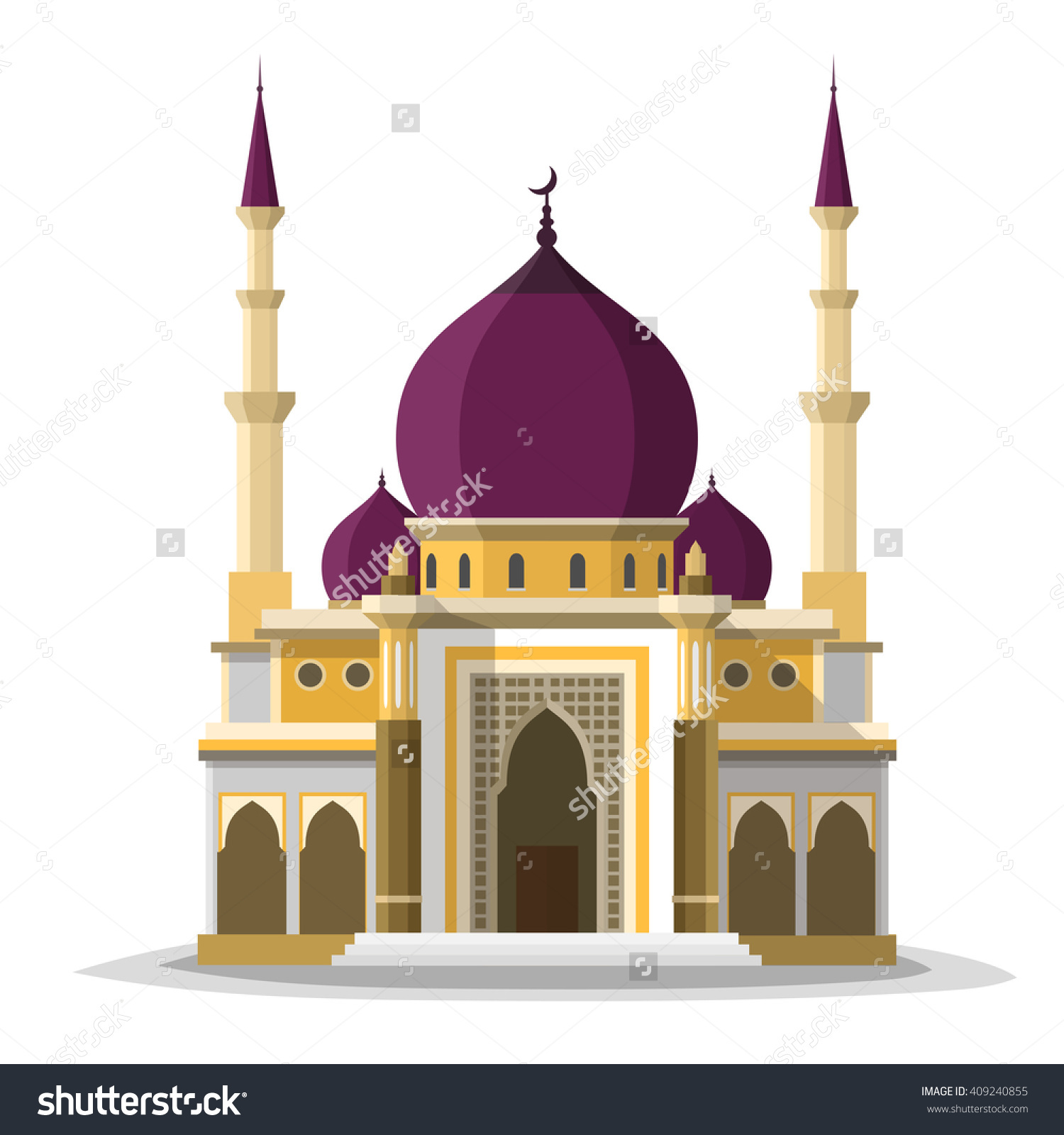 Muslim Mosque Isolated Flat Facade On Stock Vector 409240855.