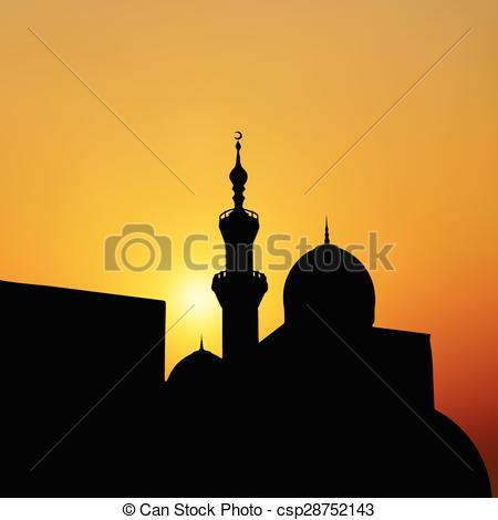 EPS Vector of sunset mosque. landscape with beautiful mosques and.
