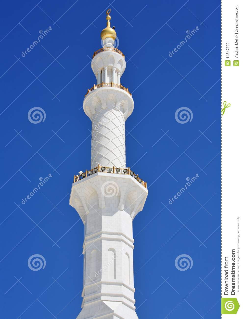 Minaret Of Sheikh Zayed Mosque In Abu Dhabi Stock Photo.