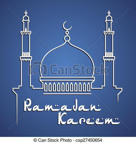 Clipart Vector of Islamic mosque with minarets at sunrise for holy.