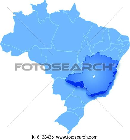 Clipart of Map of Brazil where Minas Gerais is pulled out.