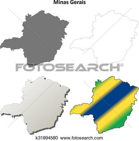 Clipart of Minas Gerais blank outline map set k31894580.