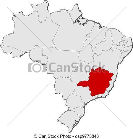 Vectors of Map of Brazil, Minas Gerais highlighted.