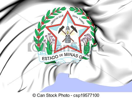 Stock Illustration of Minas Gerais Coat of Arms, Brazil. Close Up.