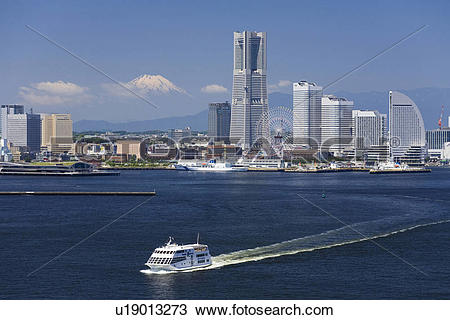 Stock Photo of Mt. Fuji and Minato Mirai Buildings u19013273.