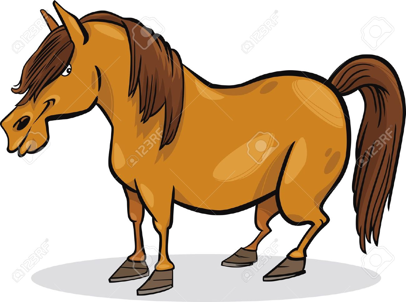 Cartoon Illustration Of Funny Farm Pony Horse Royalty Free.