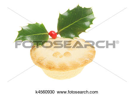 Stock Photography of Mince pie decorated with holly k4560930.