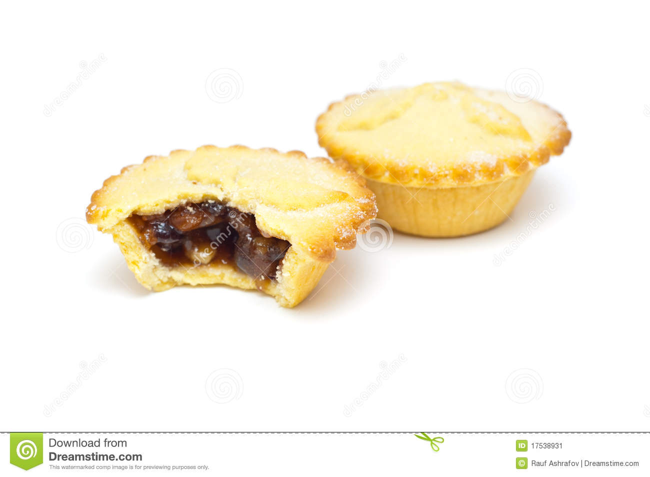 Traditional Mince Pies On A White Background Stock Image.