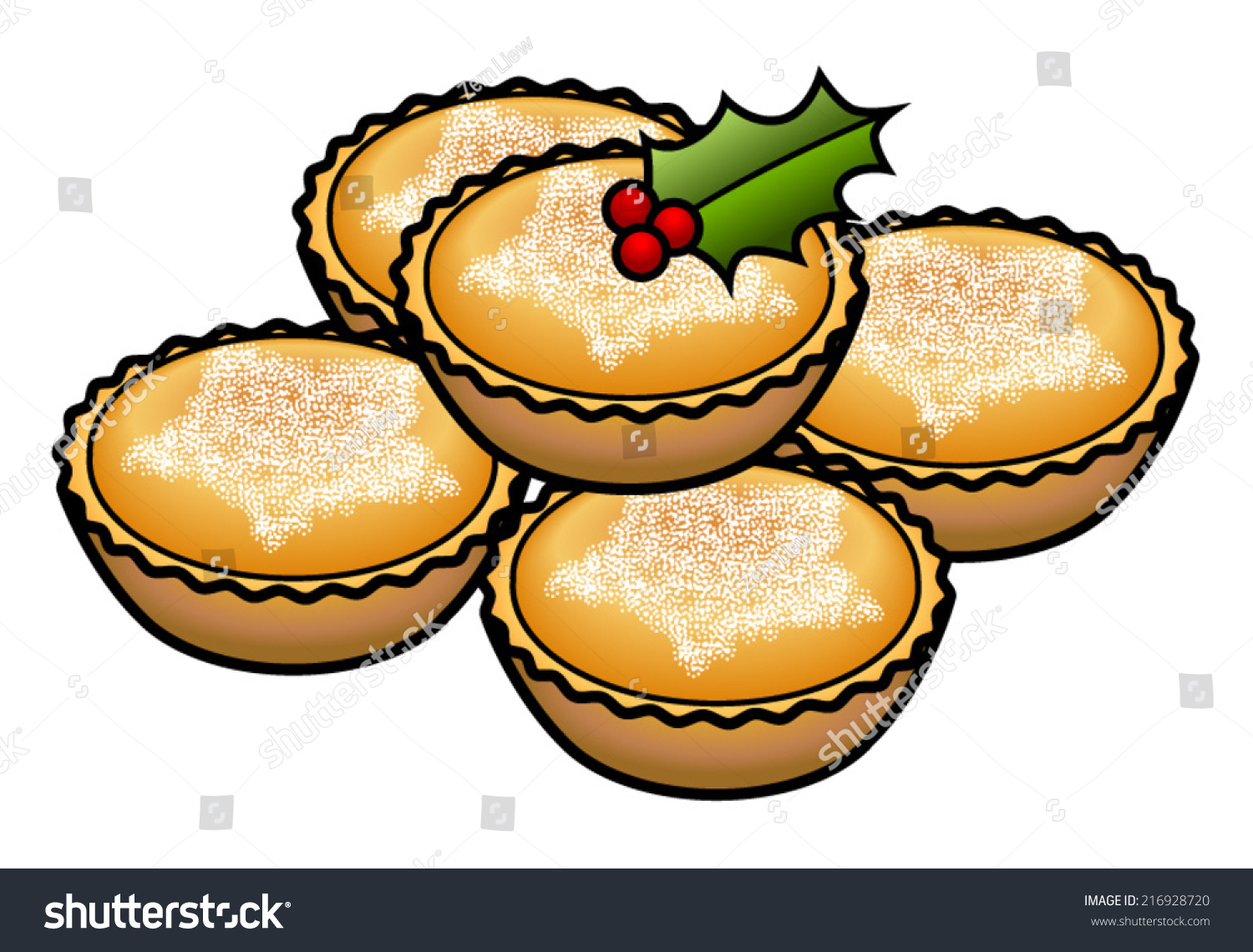 Stack 5 Mince Tarts Pies Decorated Stock Vector (Royalty.