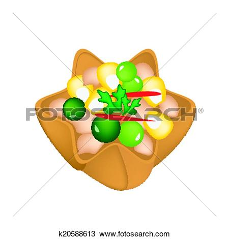 Clipart of Minced Chicken and Sweet Corn in Crispy Golden Cup.