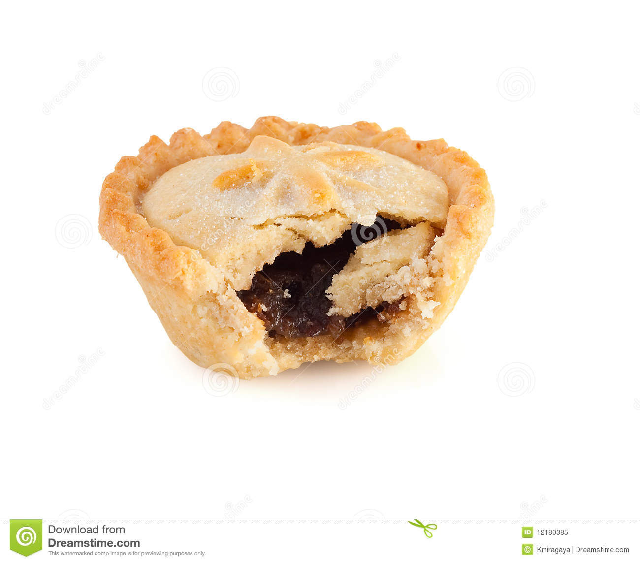 Christmas Mince Pie With A Bite Mark Royalty Free Stock Photo.