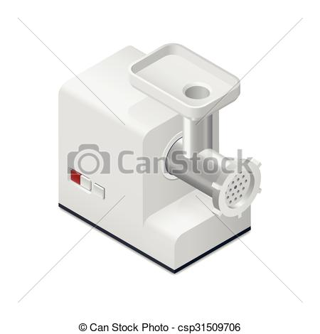 Vector Clipart of Meat mincer detailed isometric icon vector.