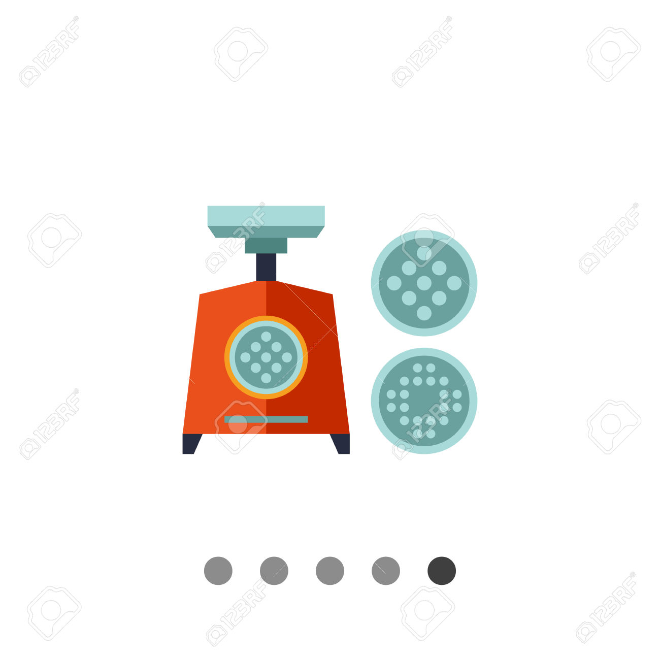 Multicolored Vector Icon Of Electric Mincing Machine With Two.