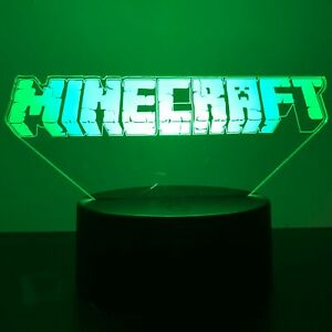 Details about MINECRAFT GAME GAMING LOGO 3D Acrylic LED 7 Colour Night  Light Touch Table Lamp.