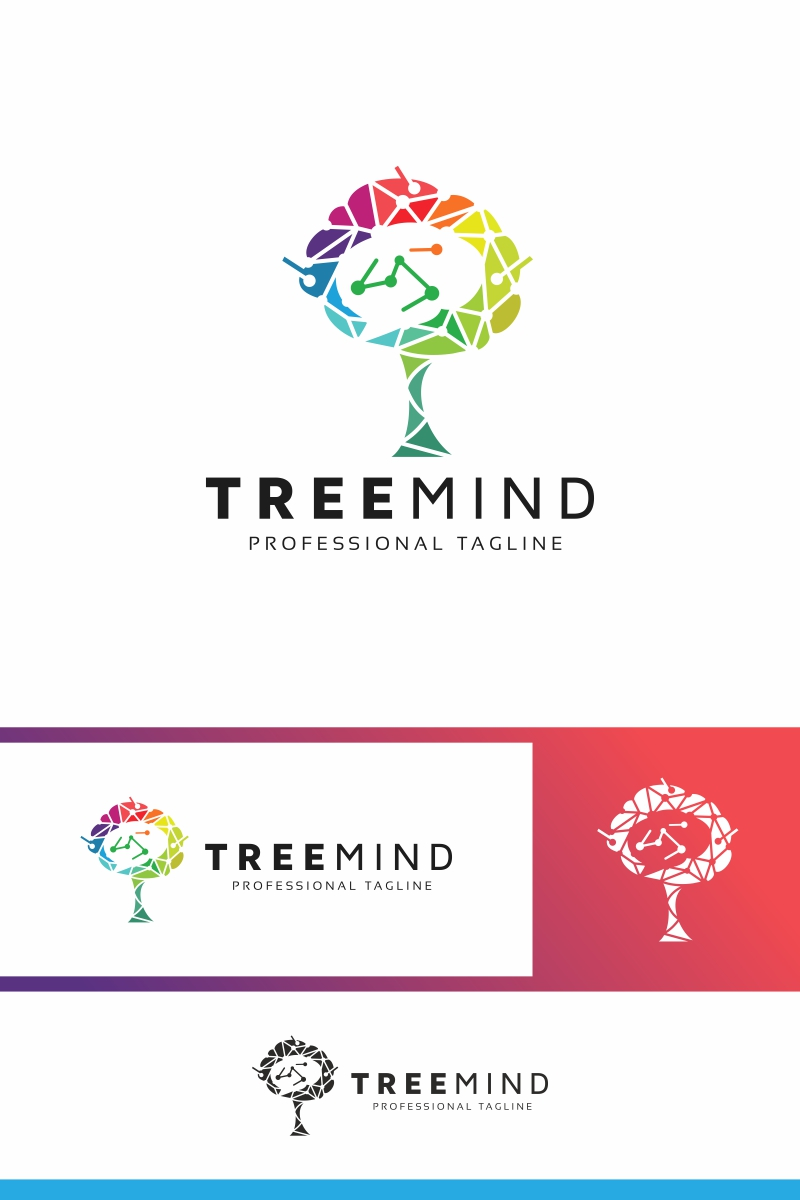 Tree Mind Logo Template.