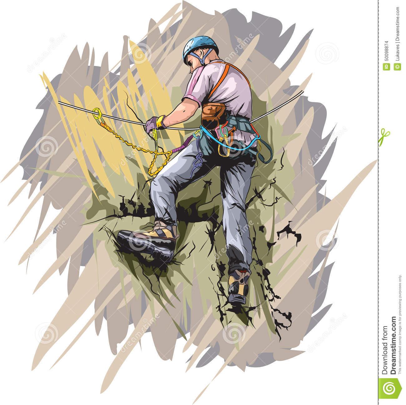 Rock Climber Stock Vector.