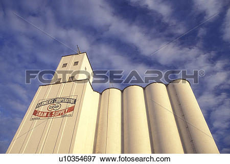 Picture of Nebraska, Grain is stored in an enormous white grain.