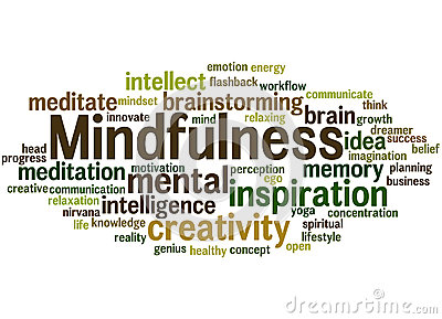 Mindfulness, Word Cloud Concept 3 Stock Illustration.