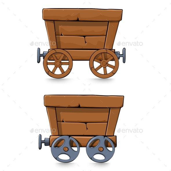 Mining Carts Set empty Mining carts isolated on white.