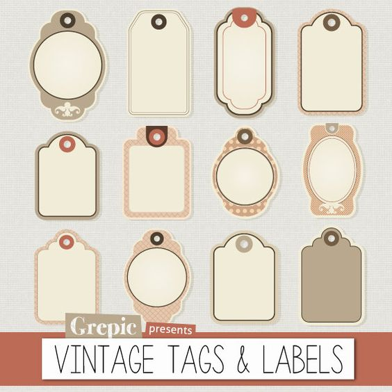 "Labels clipart pack: ""VINTAGE TAGS & LABELS"" digital clip art with."