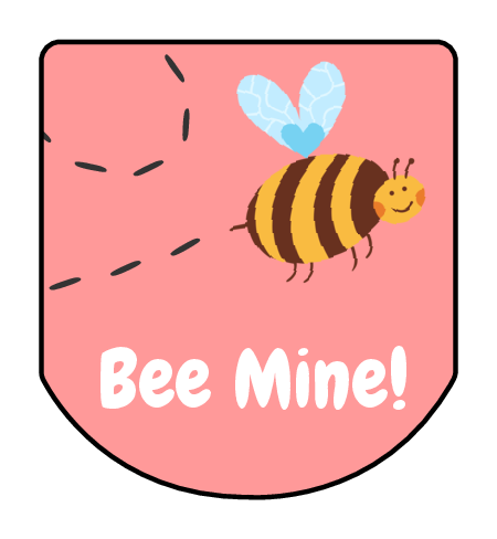 "Bee Mine!"" Valentine's Day Hand Sanitizer Labels."