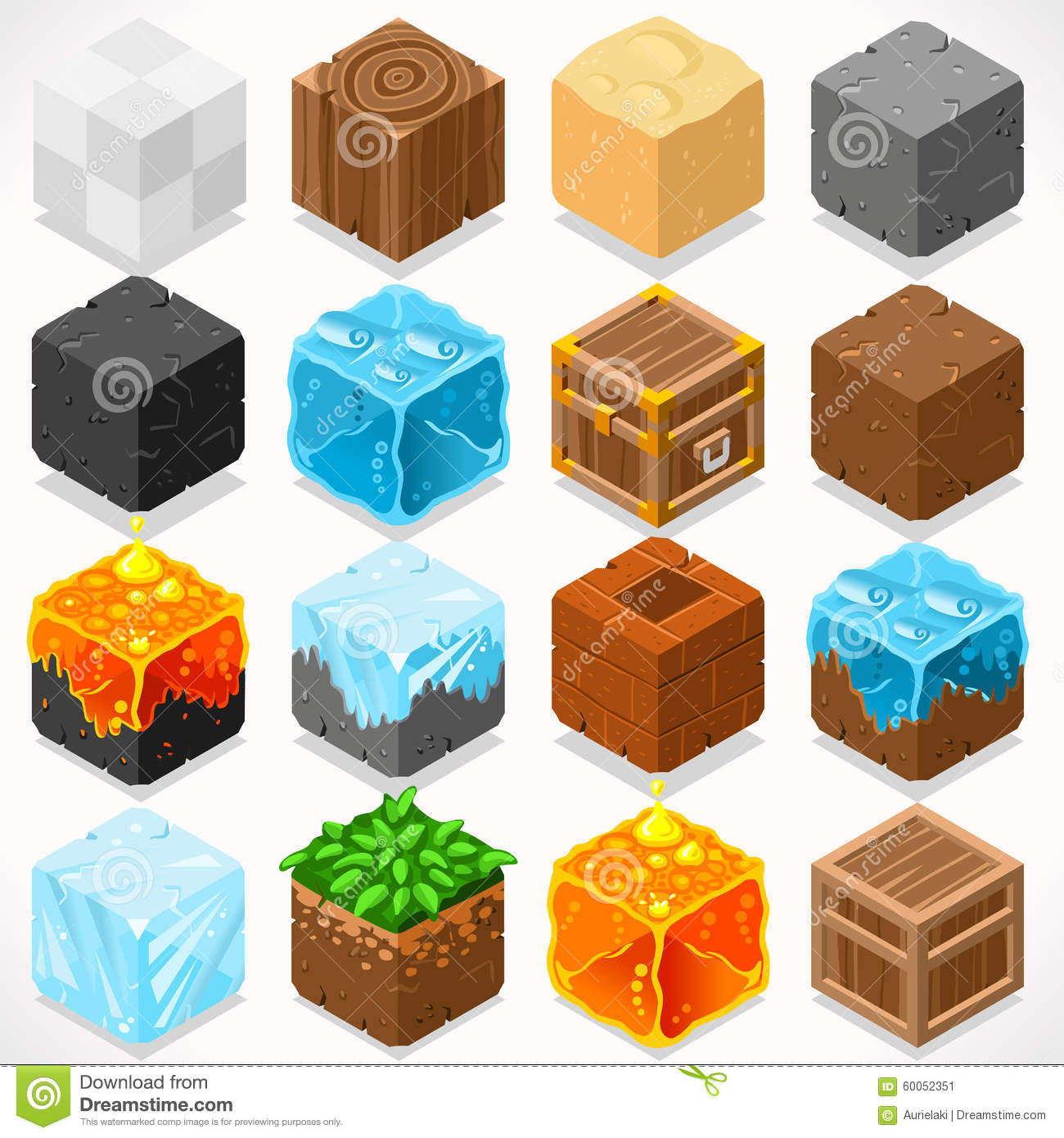 Mine Cubes 03 Elements Isometric Stock Vector.