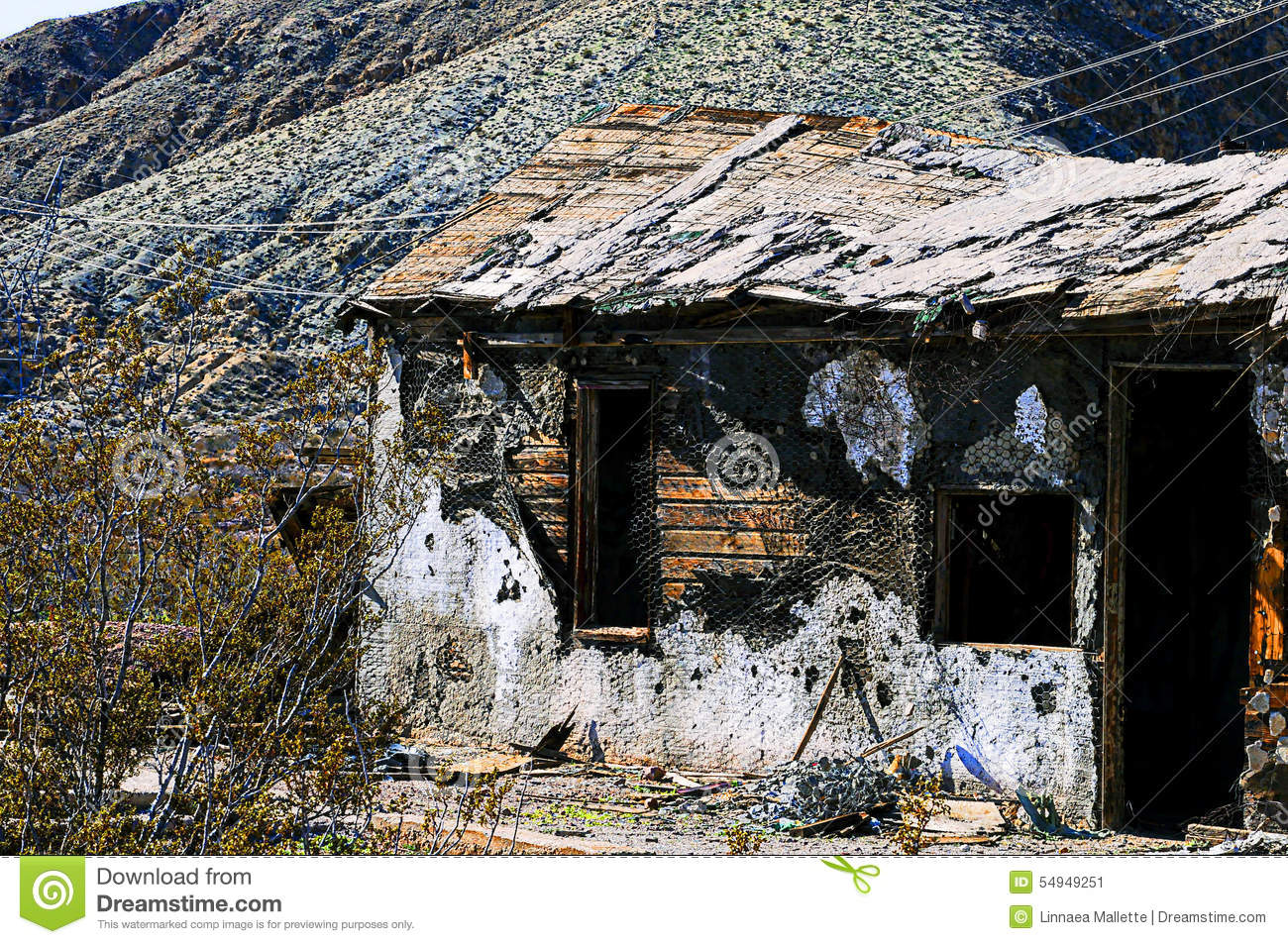 Abandoned Mining Shack Stock Photo.