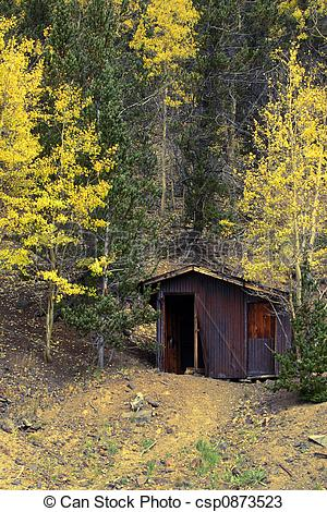 Stock Photos of Mine Shack in Autumn Woods.