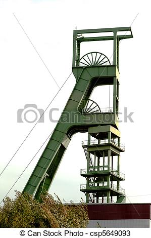 Stock Photos of Coal mine headgear tower.