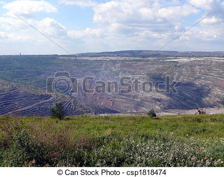 Stock Photo of Open coal mine in town Korkino.
