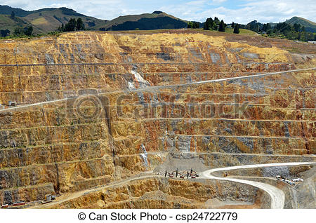 Picture of Waihi gold mine town.