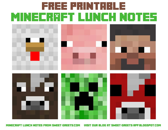 Free printable minecraft clipart.
