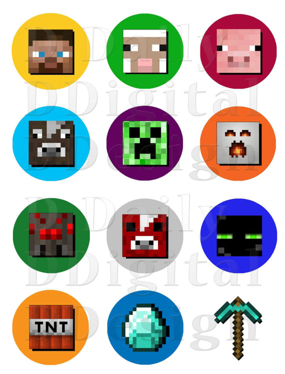 Minecraft Stickers Printable Cake/Cupcake Toppers/ Party Favors.