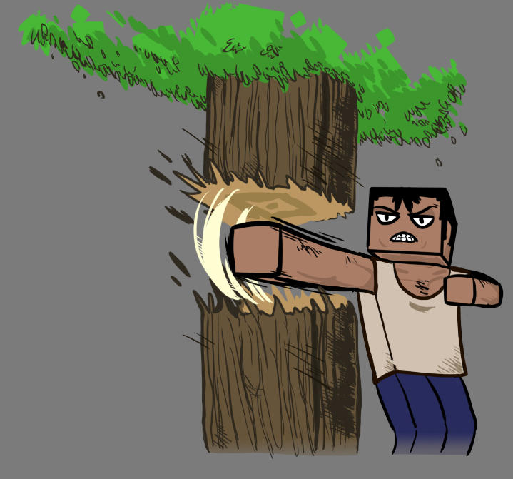 minecraft art.guy punches a tree???.