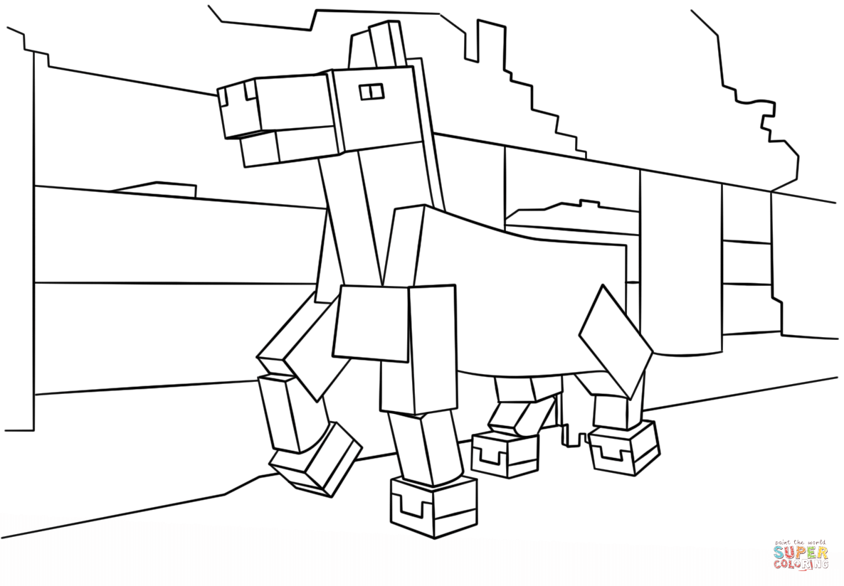 Minecraft Horse Coloring Pages.