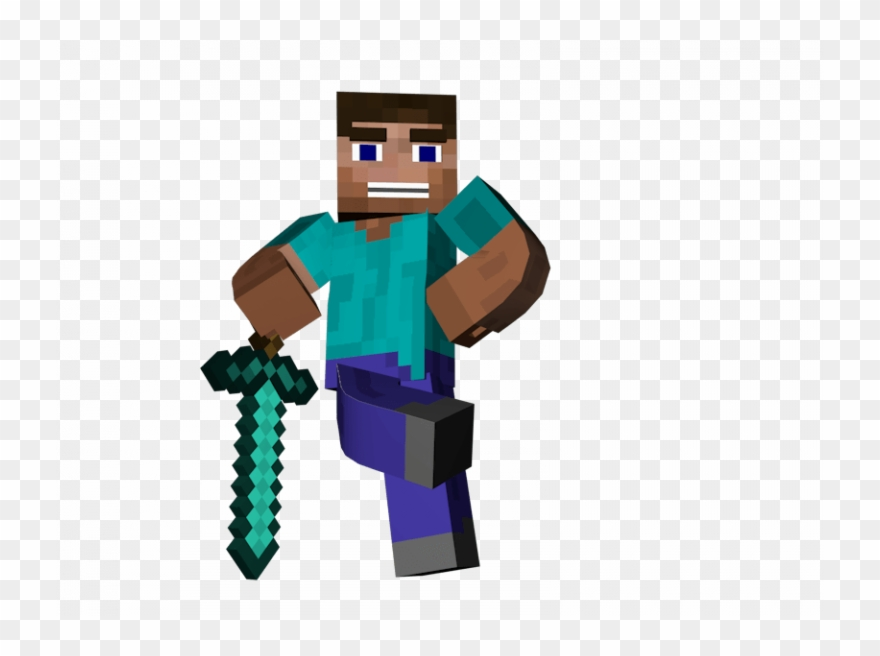 Minecraft Steve With Sword Man Standing Sword Minecraft.