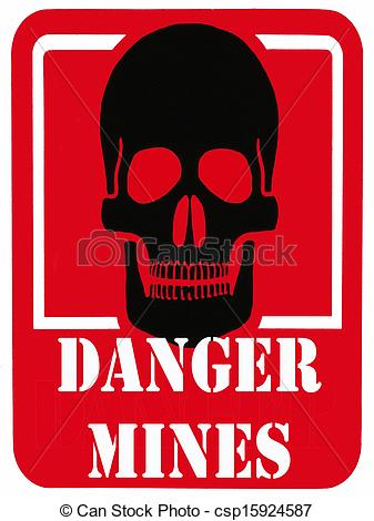 Stock Illustration of Danger Minefield Sign.