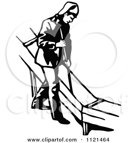 Clipart Of A Retro Vintage Black And White Klondiker Gold Rush.