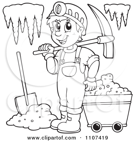Clipart Outlined Happy Miner In A Cave.