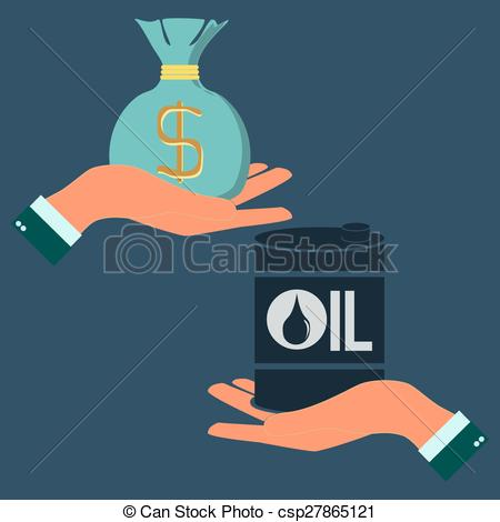 Vector Illustration of Market trading of oil resources. concept of.