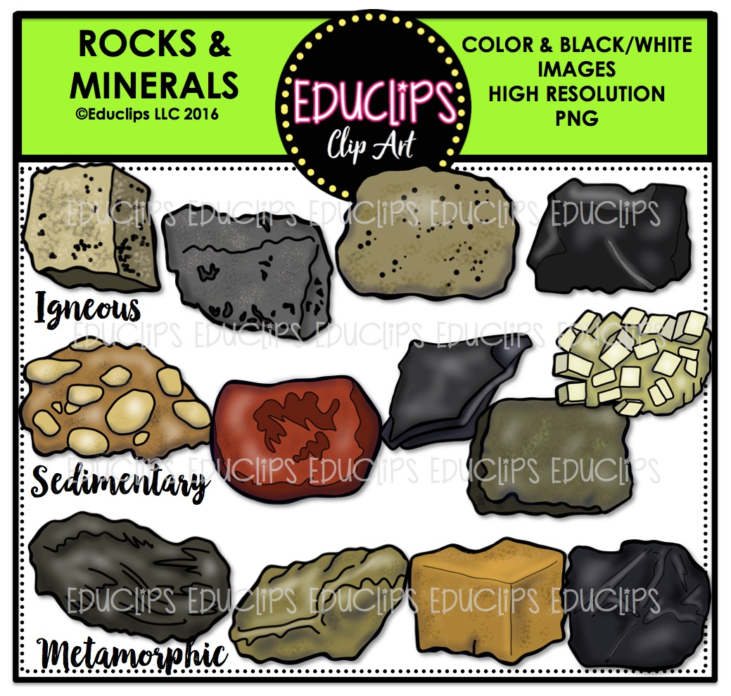 Rocks & Minerals Clip Art Bundle (Color and B&W).