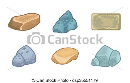Vectors Illustration of Cartoon stones and minerals set.