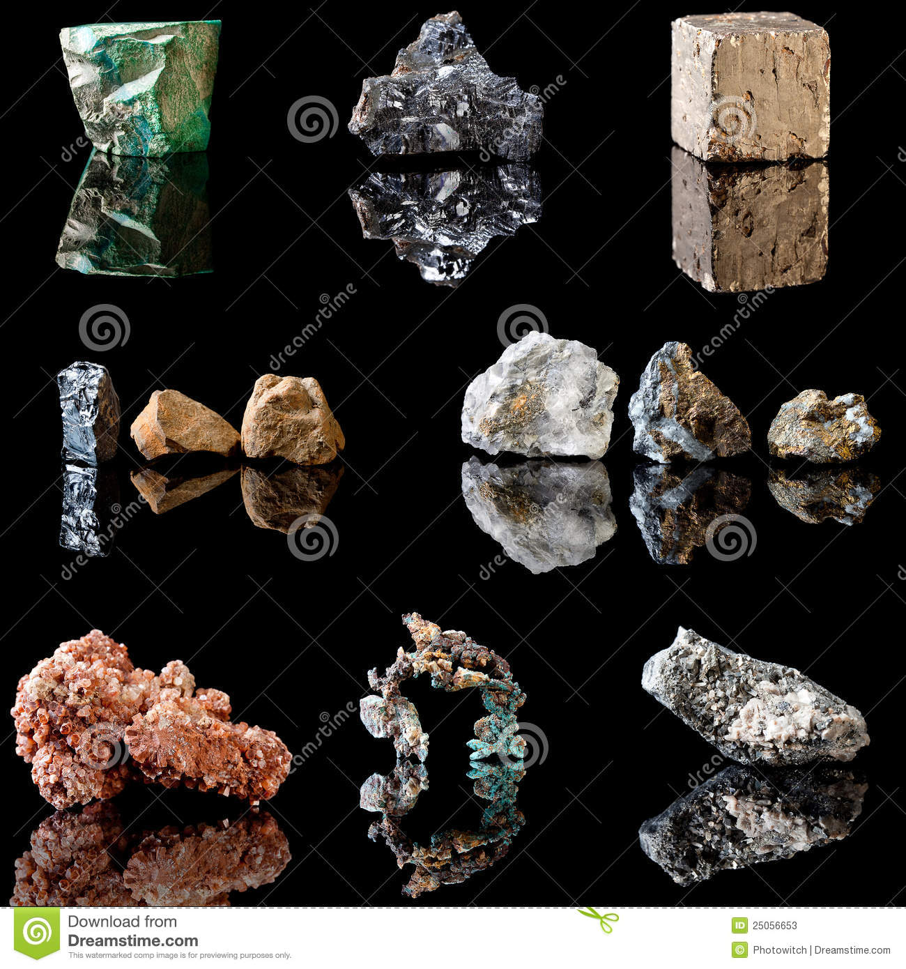 Metal Containing Minerals Stock Photos.