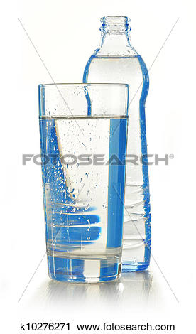 Stock Photography of Glass bottle of mineral water isolated on.