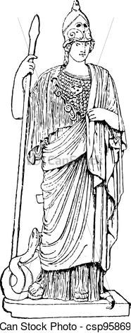 Clip Art Vector of Minerva, vintage engraving.