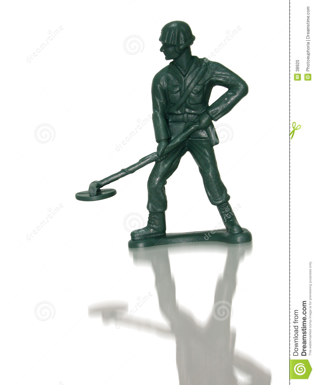 Jumbo Sized Plastic Green Army Man Mine Sweeper Alone With His.
