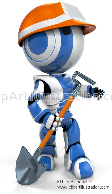 ClipArt Illustration Rescue Robot, Mine Sweeper, Or Miner.
